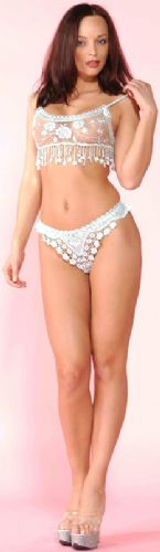 Top and Thong Set (Music Legs 70013) - Black, Embroidered